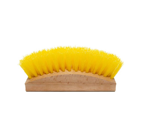 Long, wooden handle with bristles in an arc. Bristles are yellow plastic.