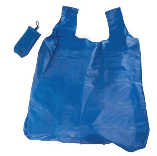 An unfolded blue bag with storage pouch that has a black press button and clip