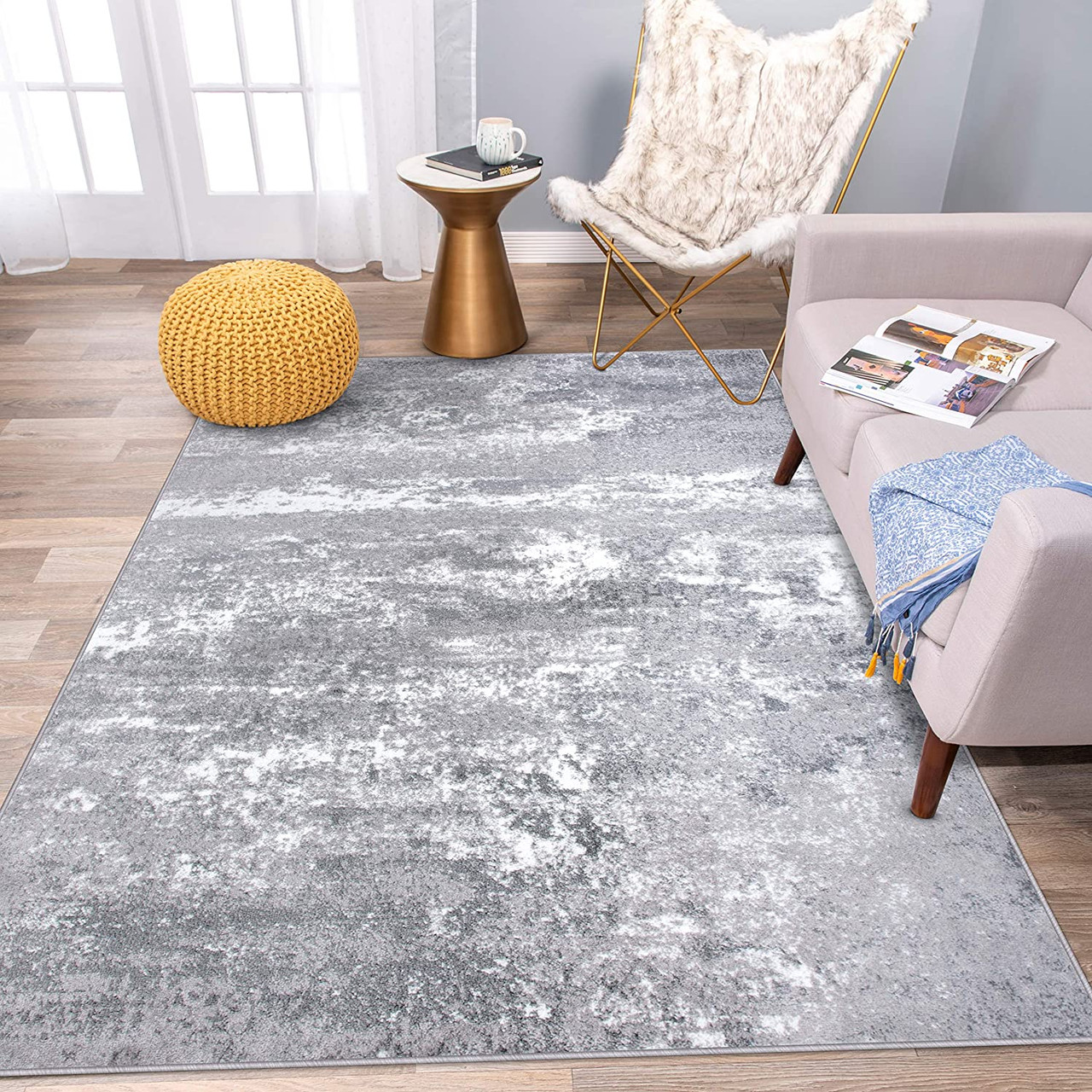 Rugshop Distressed Abstract Watercolor Area Rug 5 X 7 Blue