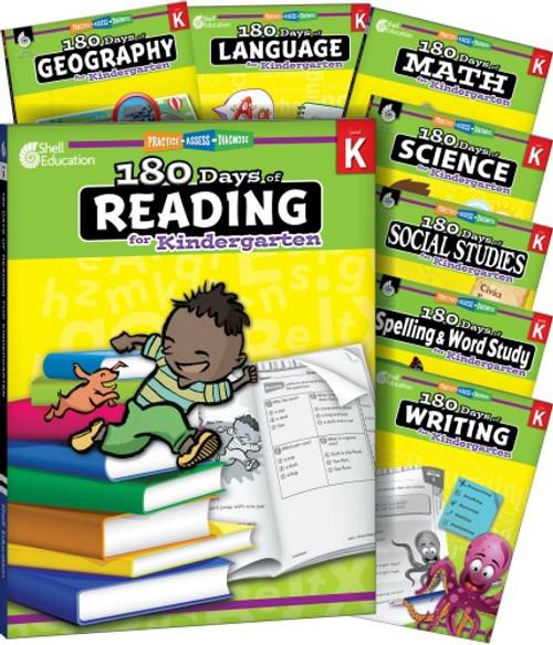 Kindergarten 180 Days of Practice 8-Subject Bundle