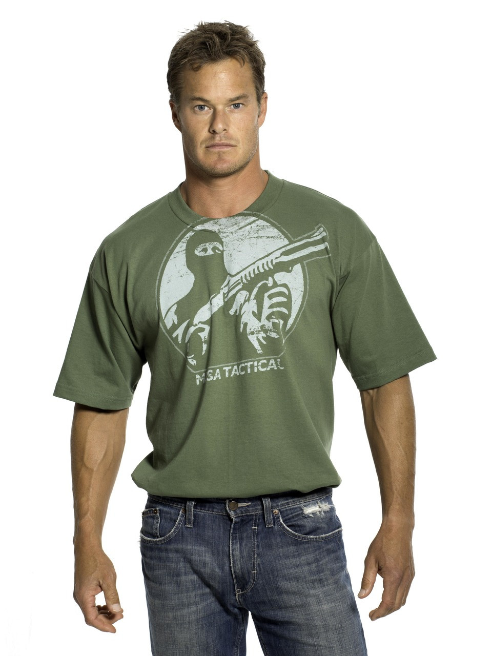 Mesa Tactical Logo & Shells Short Sleeved Tee, Large, White On Army Green