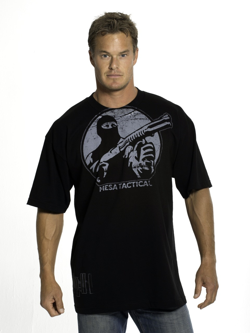 Mesa Tactical Logo & Shells Short Sleeved Tee, Large, White On Black
