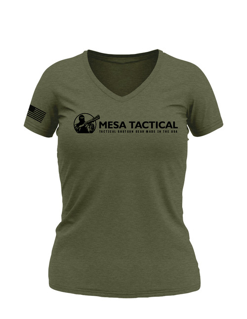 Mesa Tactical Short Sleeve Ladies Vee Neck, Small, Olive Heather, Logo3
