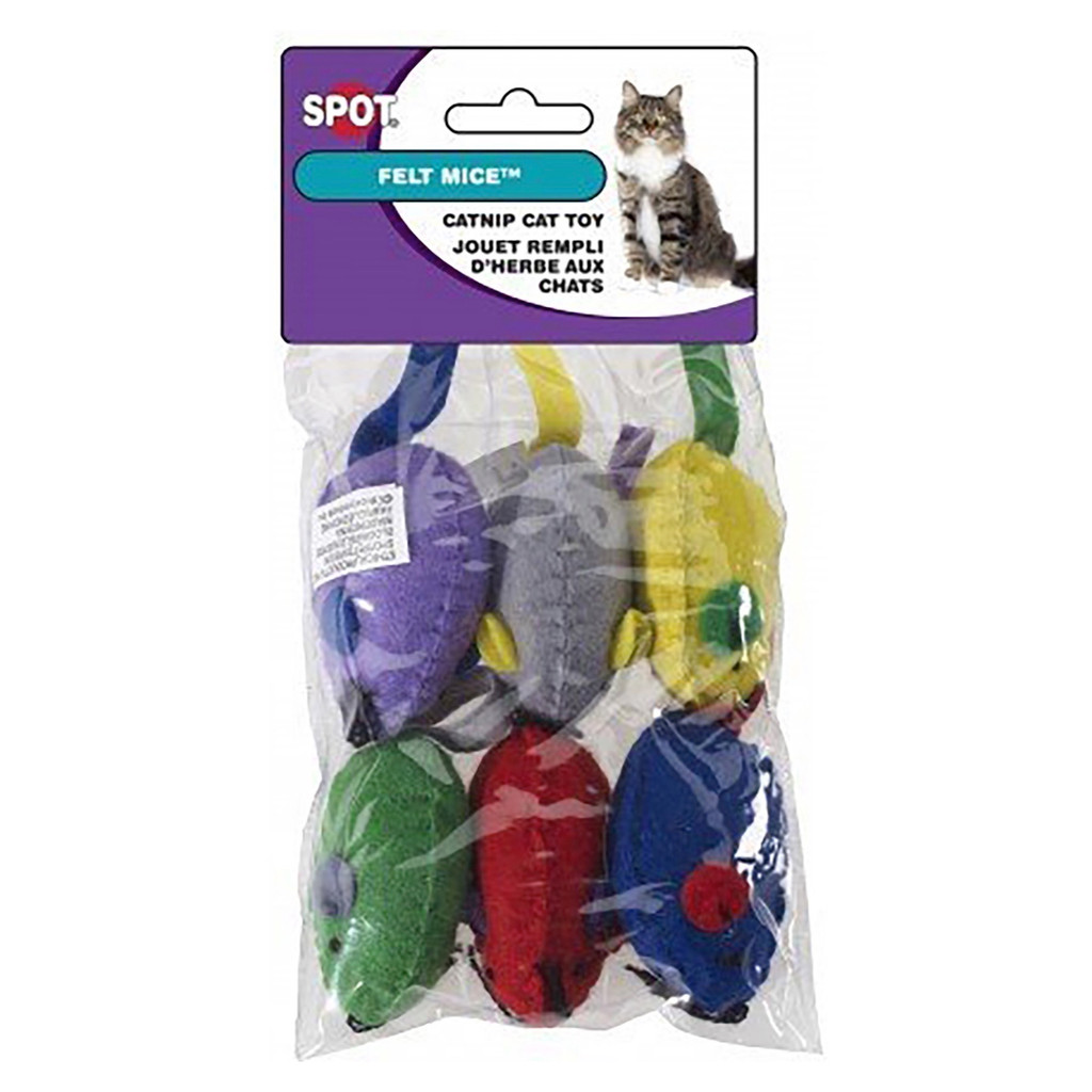 Ethical Pet Spot Felt Mice 6 count   Assorted Colorful Cat Toys with Catnip