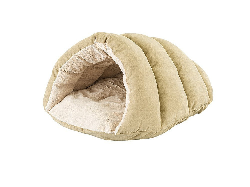 Ethical Pet Sleep Zone Cuddle Cave Tan 22 inch | Plush Faux Suede Pet Bed
