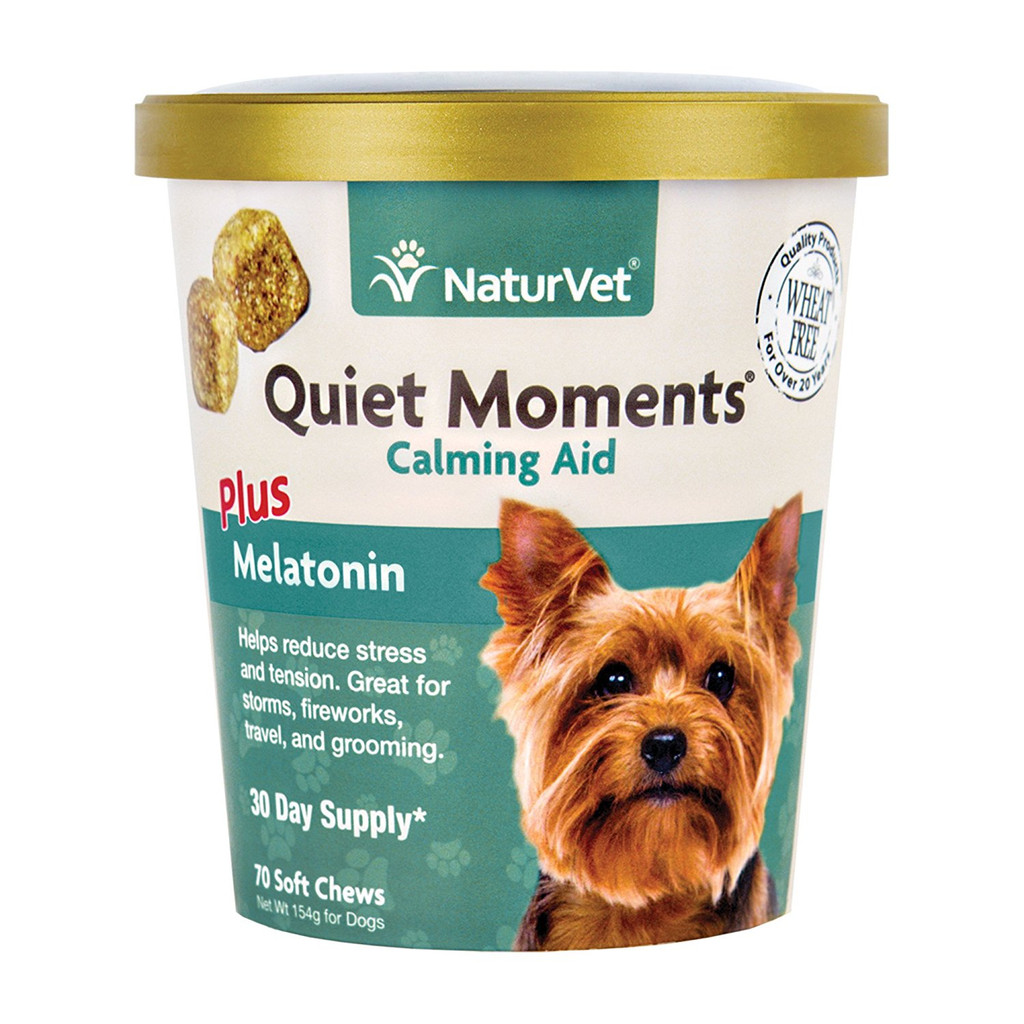 NaturVet QUIET MOMENTS Plus Melatonin Dog Soft Chew Fireworks Travel 70 ct