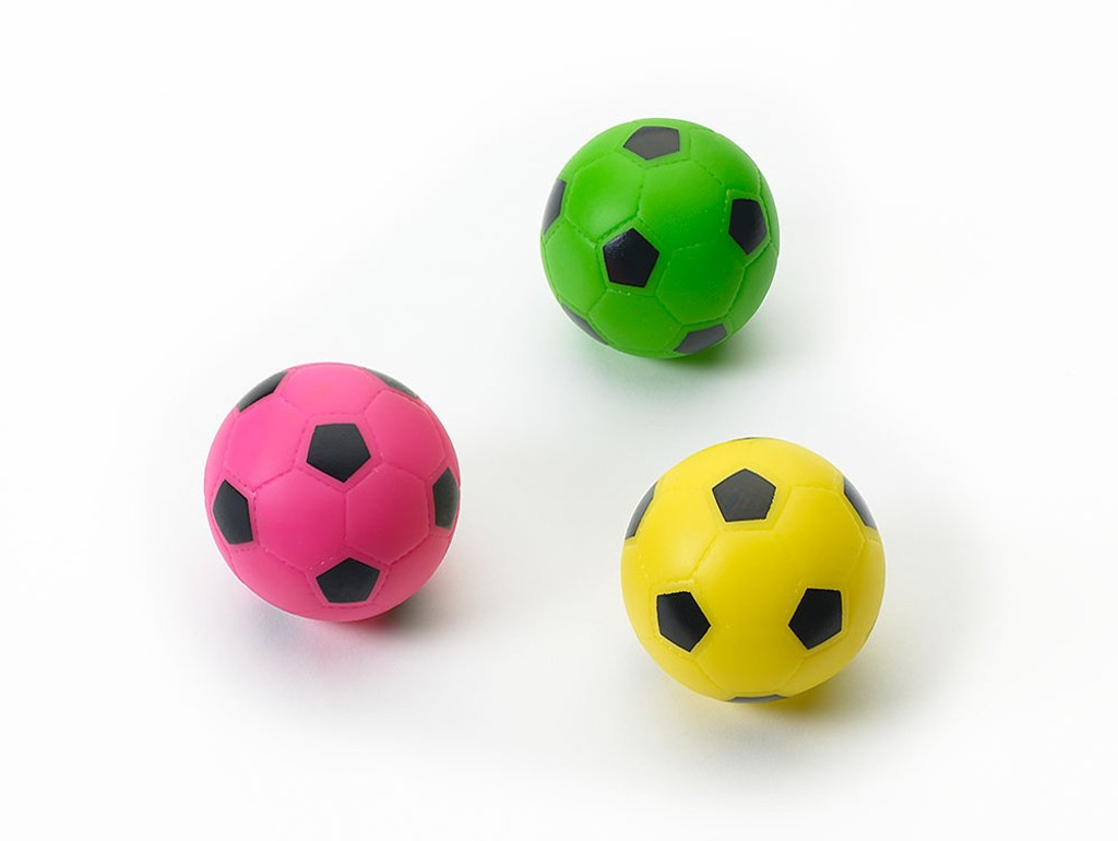 Ethical Pet Spot Soccer Ball 3 inch | Colorful Vinyl Squeaker Toy for Dogs