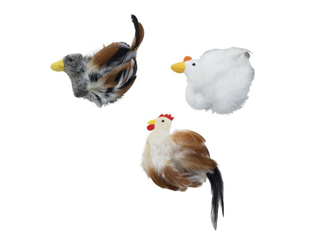 Ethical Pet Spot Birds Of A Feather | Assorted Chicken/Duck Catnip Toys for Cats
