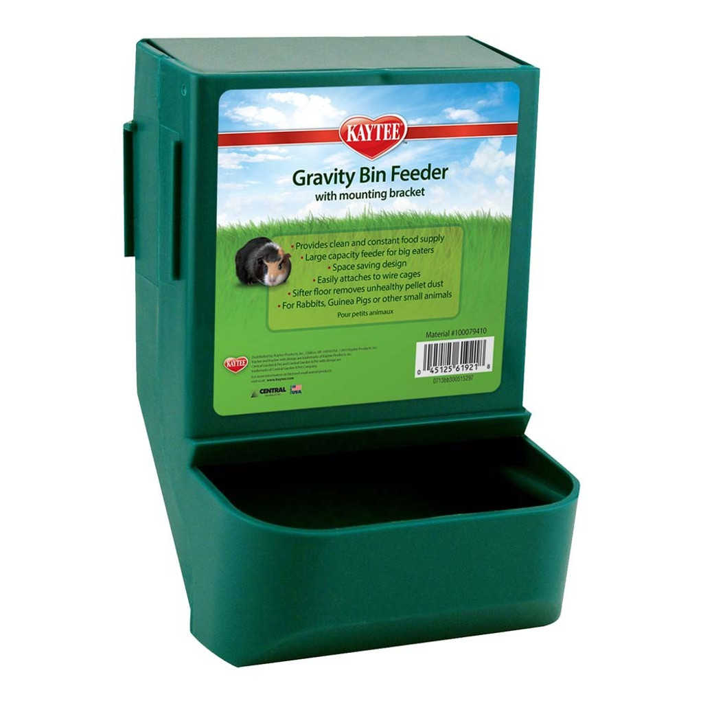 Kaytee Gravity Bin Feeder | Clean and Constant Food Supply For Small Animals