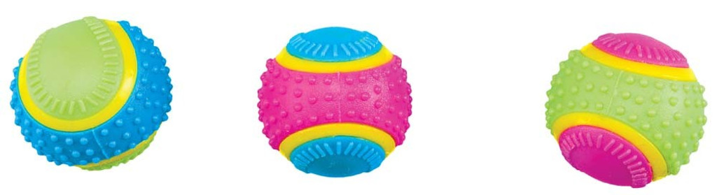 Ethical Pet Spot Sensory Ball 2.5 inch | Colorful Rubber Squeaker Toy for Dogs
