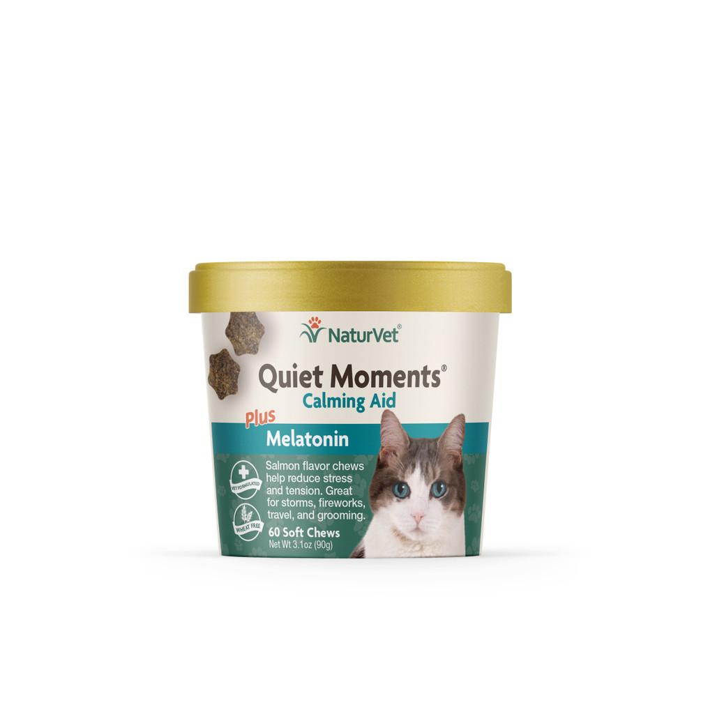 NaturVet Quiet Moment Cat Calming Aid Supplement Soft Chew Plus Melatonin 60 ct