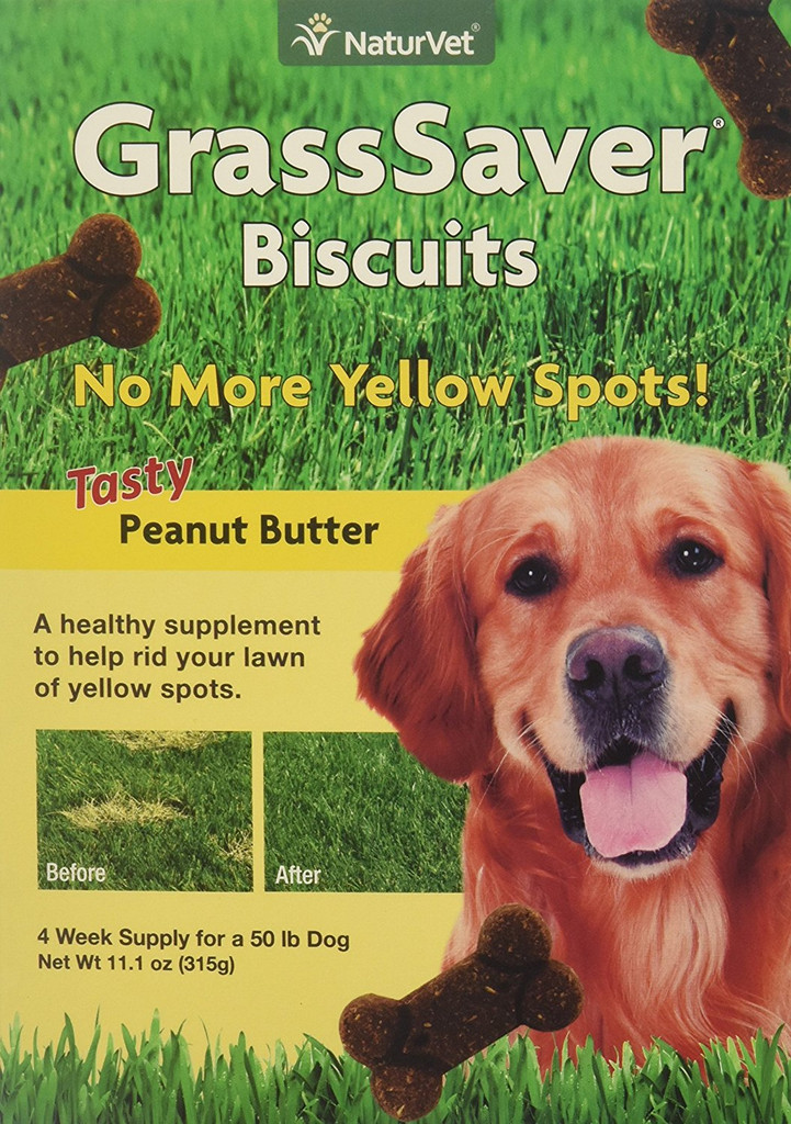 NaturVet GrassSaver Dog Supplement Get Rid of Yellow Lawn Spots Biscuits 11 oz