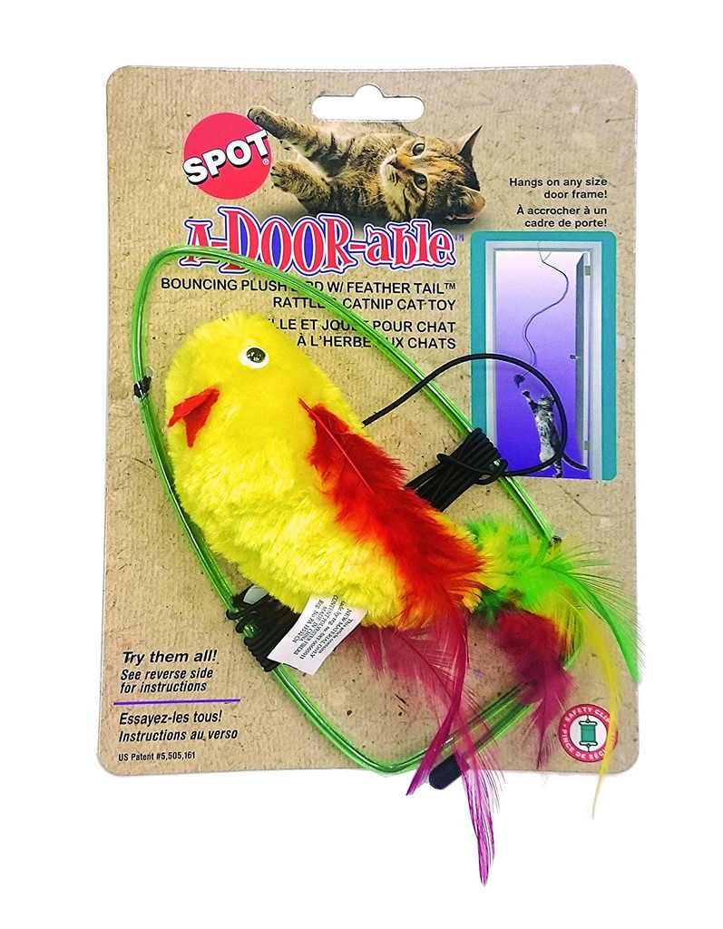 Ethical Pet Spot A-Door-Able Bouncing Plush Bird   Cat Toy   Colorful Feathers
