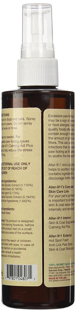 NaturVet ALLER-911 Allergy Aid Skin Coat Anti-Lick Dog and Cat Paw Spray 8 oz