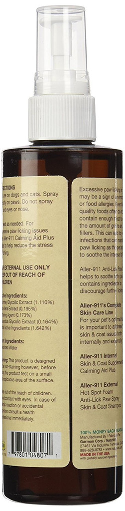 NaturVet ALLER-911 Allergy Aid Skin Coat Anti-Lick Dog and Cat Paw Spray 8 oz
