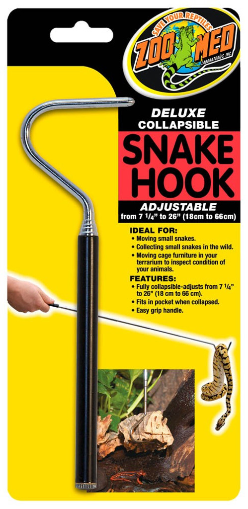 Zoo Med Deluxe Fully Collapsible Snake Hook Easy Grip Handle