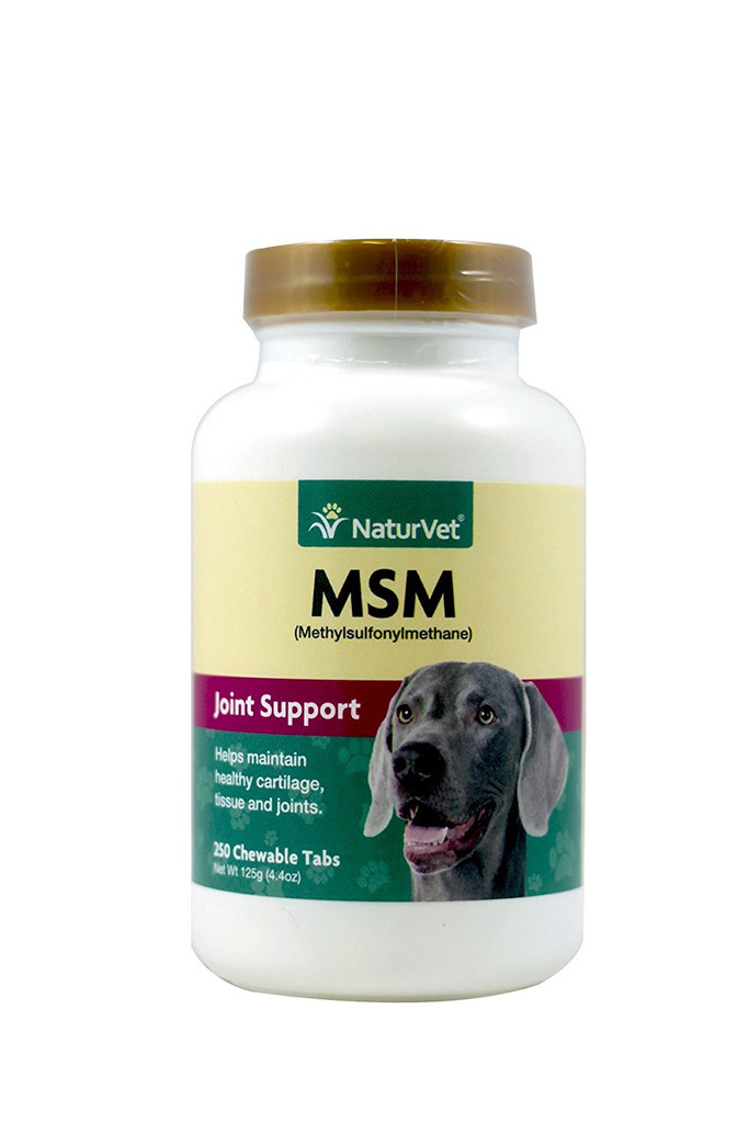 NaturVet MSM Tablets Joint and Hip Health For Dogs Arthritis Wellness 250 count