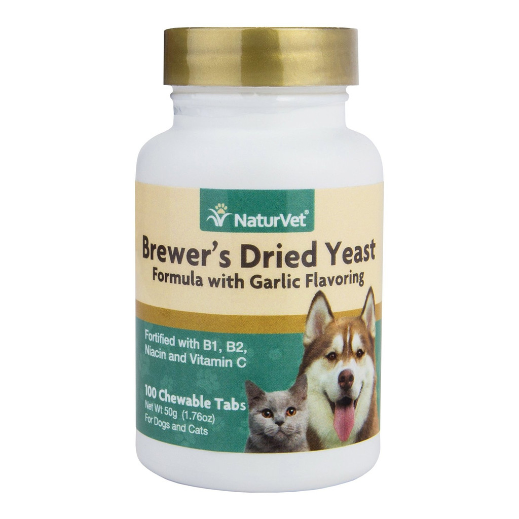 NaturVet Brewer Dried Yeast Formula Garlic Dog and Cat Vitamins 100 count