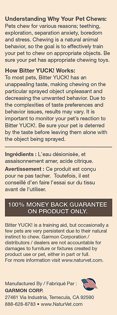 NaturVet BITTER YUCK No Chew Spray For Dog/Cat/Horse - Water Based 8 oz