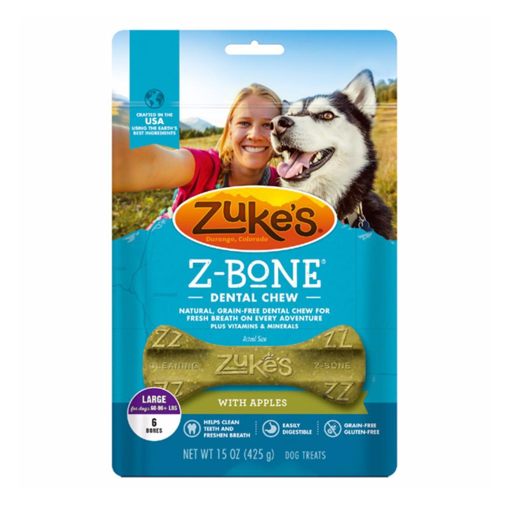 Zuke's Z Bone Grain Free Pet Nutrition Large Apple Crisp Dog Dental Chew 6 count