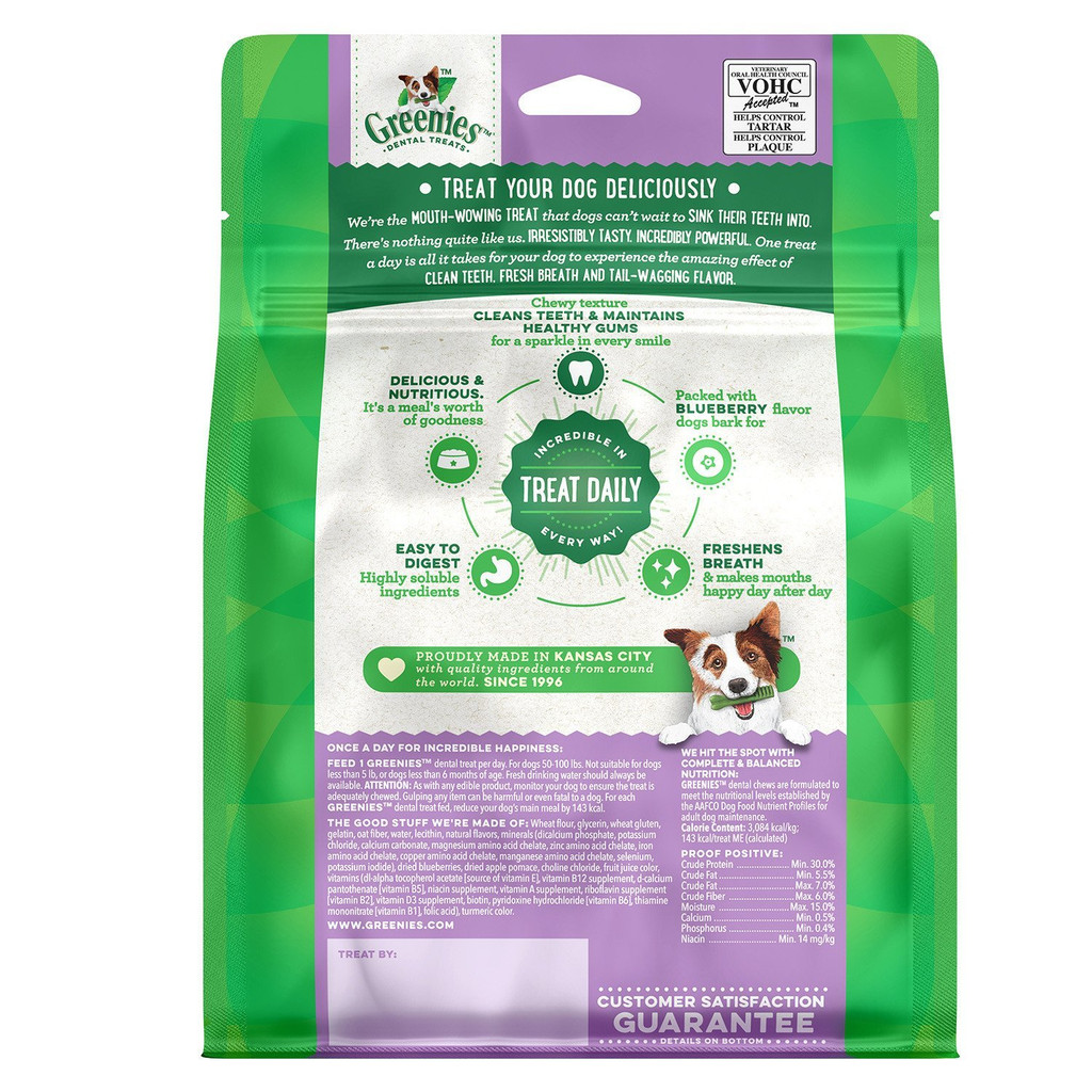 Greenies Bursting BlueBerry Petite Size 20 count 12 oz | Dental Treats for Dogs
