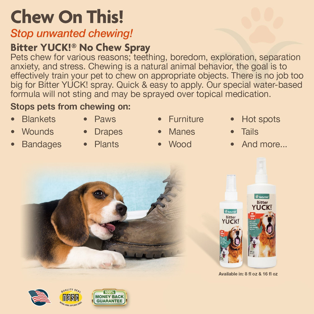 NaturVet BITTER YUCK No Chew Spray For Dog/Cat/Horse - Water Based 16 oz