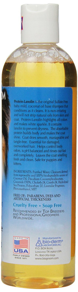 Bio-Groom Protein Lanolin 12 oz   Tearless Shampoo for Dogs and Cats of All Ages