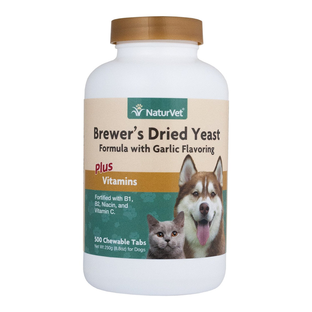 NaturVet BREWERS DRIED YEAST Garlic Flavor Plus Vitamins | Dogs and Cats 500 tab