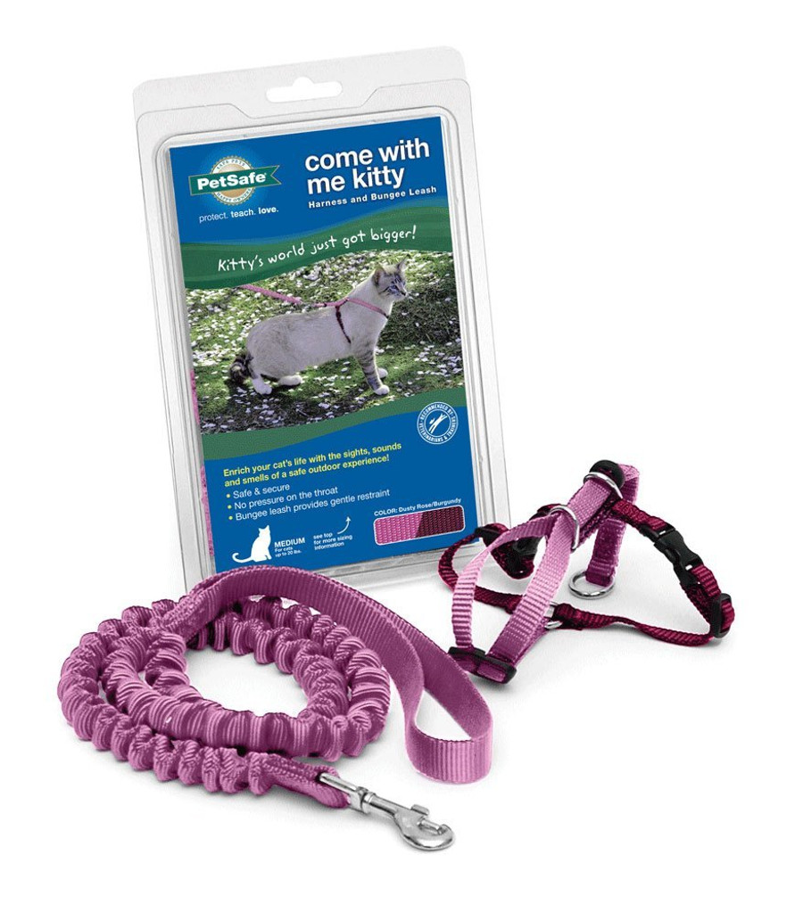 PetSafe COME WITH ME KITTY Cat Harness and Bungee Leash Pink Medium