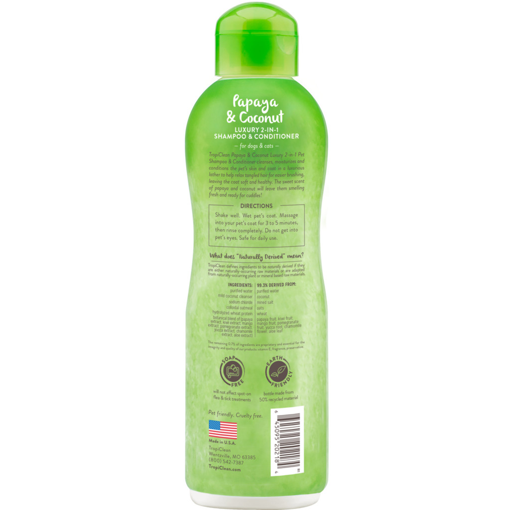 TropiClean 2-in-1 HypoAllergenic Natural Soap Free Papaya Shampoo Dogs Cats 20oz