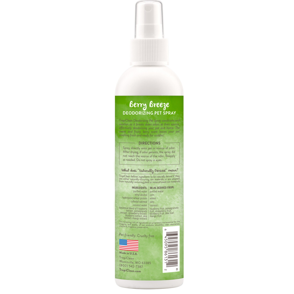 TropiClean Berry Fresh Natural Spray Refreshing Soap Free Cat Dog Cologne 8oz