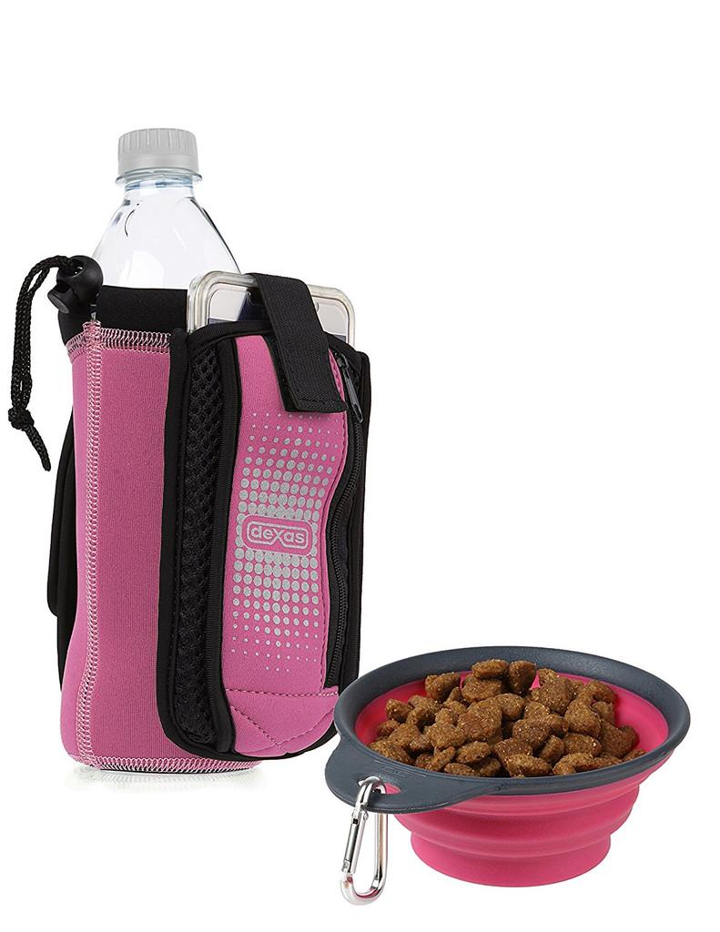 Dexas Bottle Pocket Insulated Neoprene Bottle Holder with Travel Cup Pink 1.9oz