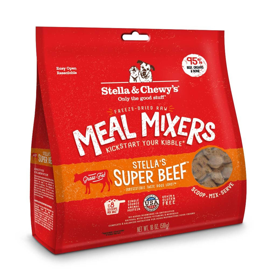 Stella and Chewy's Freeze-Dried Raw Super Beef Meal Mixers for Dogs 18 ounce