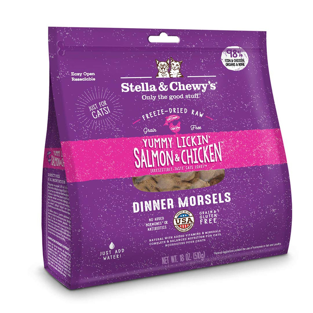 Stella and Chewy's Freeze-Dried Salmon Chicken Dinner Morsels for Cats 18 ounce