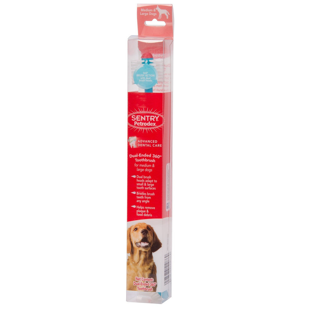 Petrodex Dual Ended Toothbrush 360 for Dogs Ergonomic Handle Rubber Plaque Large