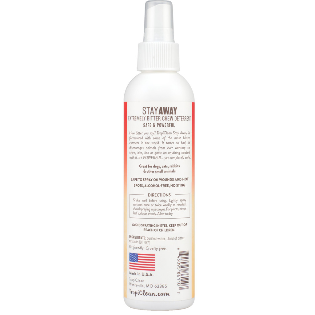 TropiClean Stay Away Extremely Bitter Chew Deterrent Spray for Dogs Cats 8 ounce