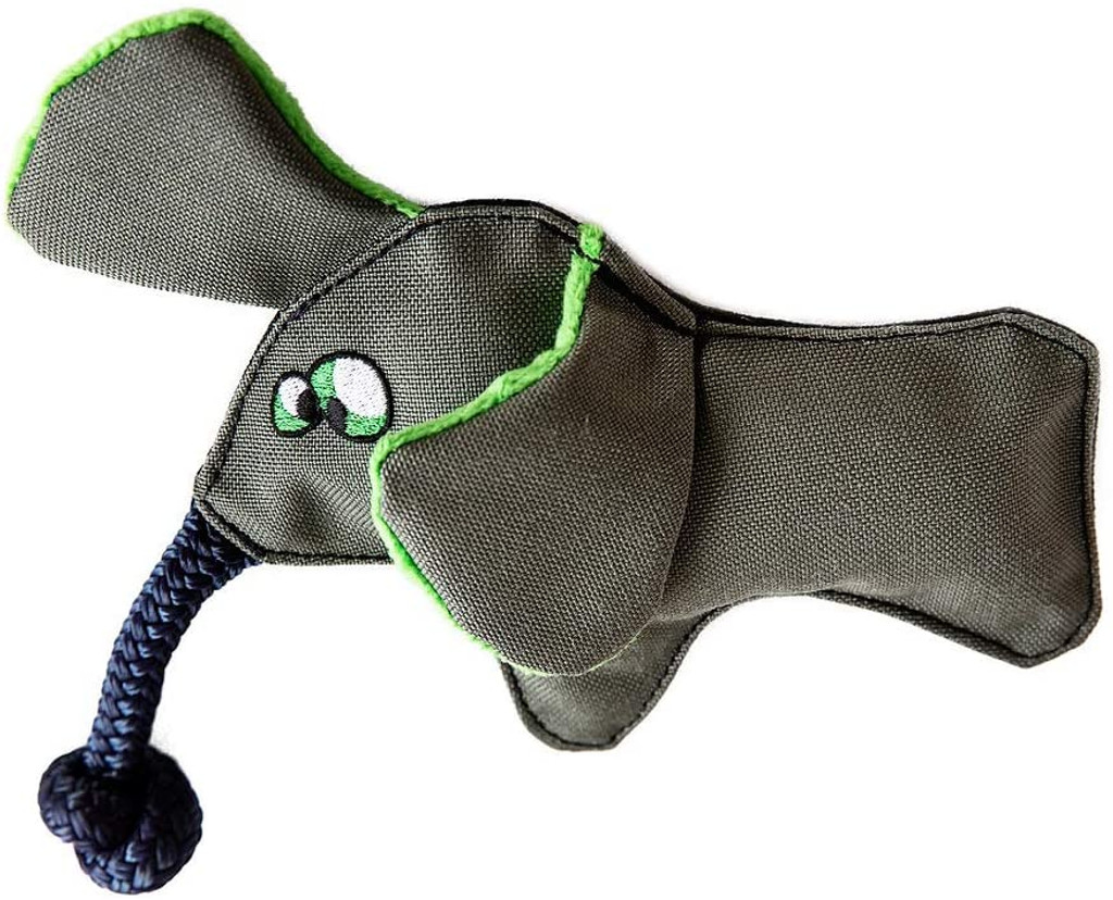 WO Wild Elephant Plush Dog Chew And Tug Toy With Squeaker And Rope Trunk