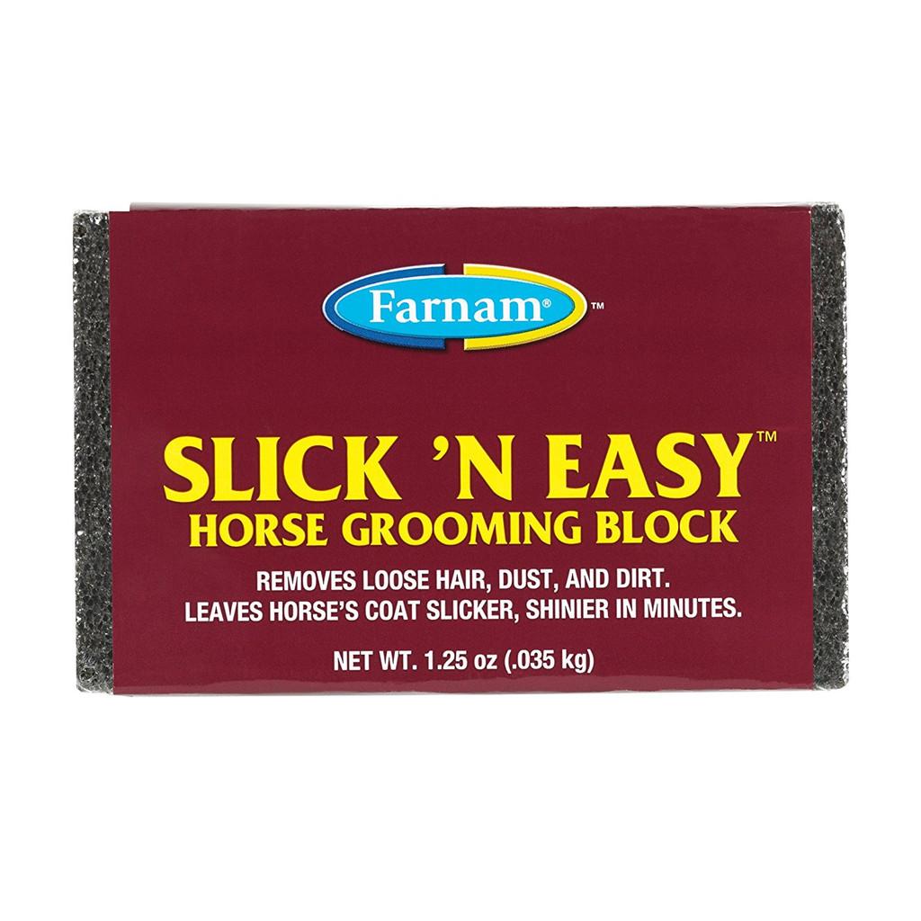 Farnam Slick 'N Easy Horse Grooming Block 1.25 oz | Removes Loose Hair/Dust/Dirt