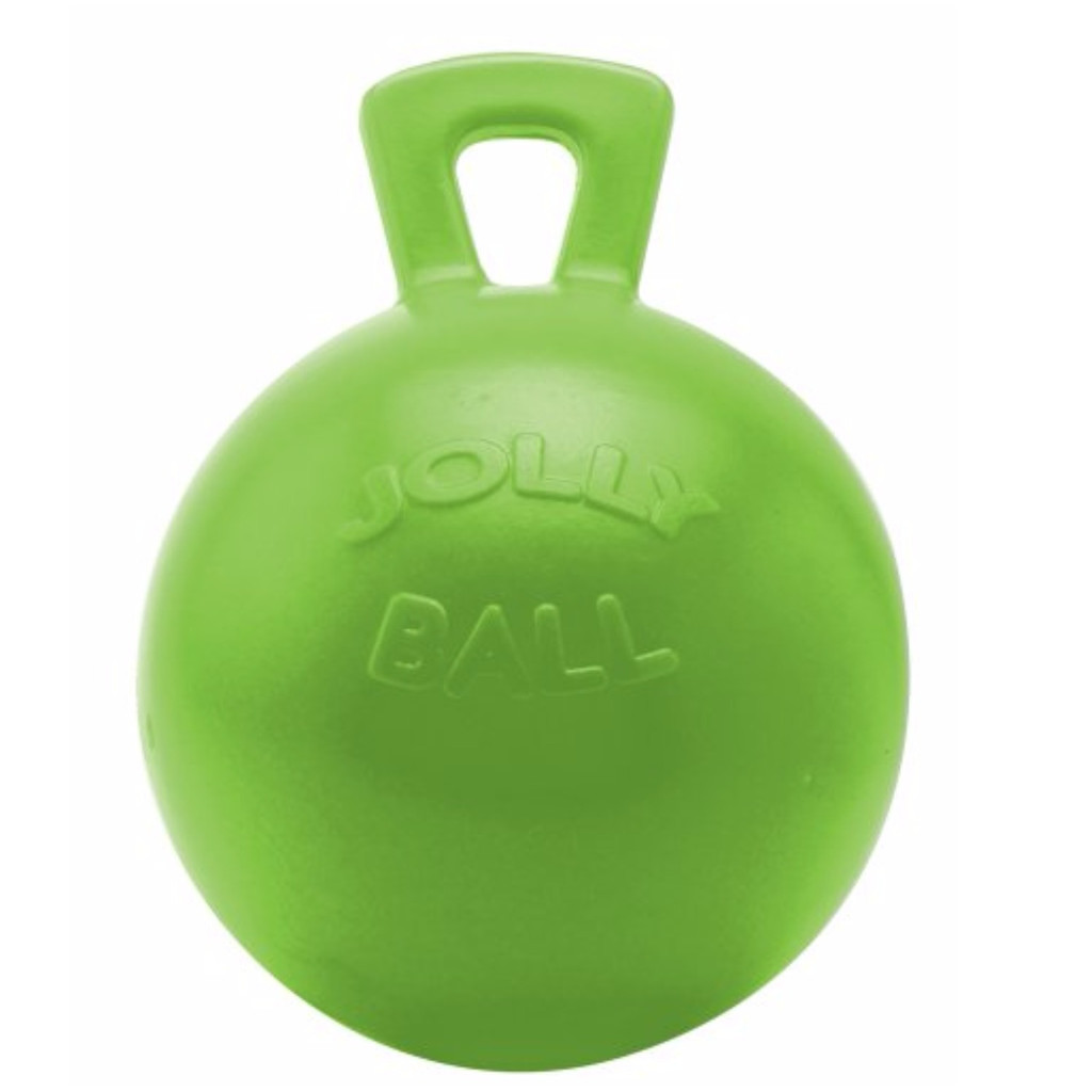 Horsemen's Pride Jolly Ball with Handle Green 10 inch | Apple Scented Rubber Toy
