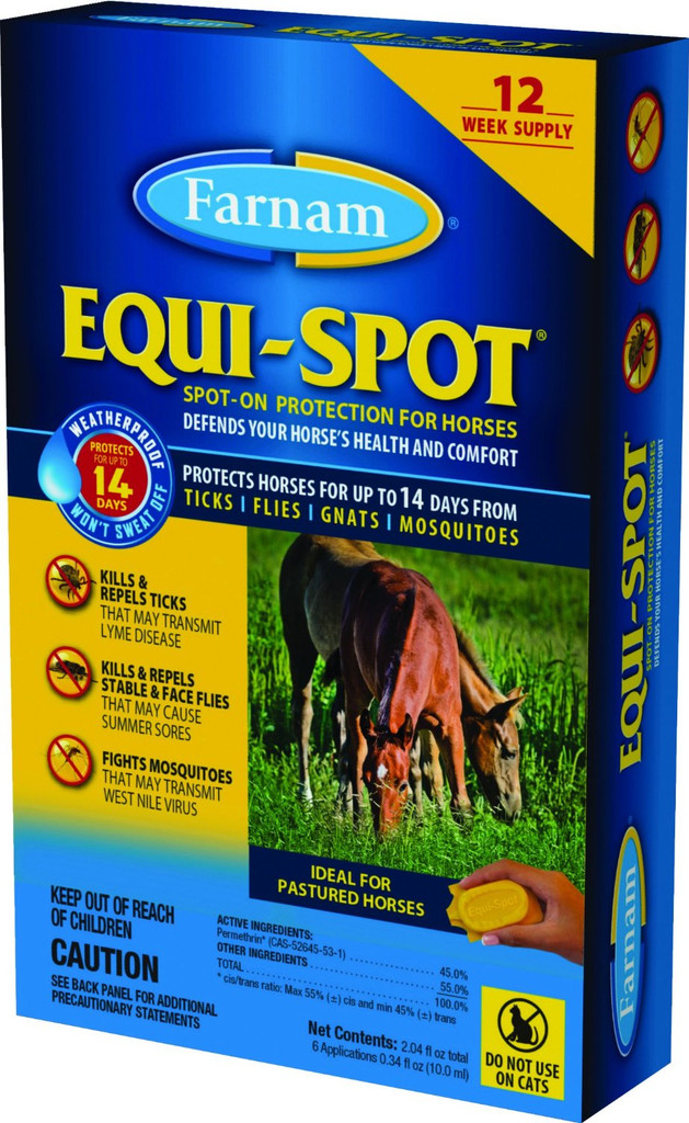 Farnam Equi-Spot | Spot On Protection for Horses 12 Week Supply | Fly Control
