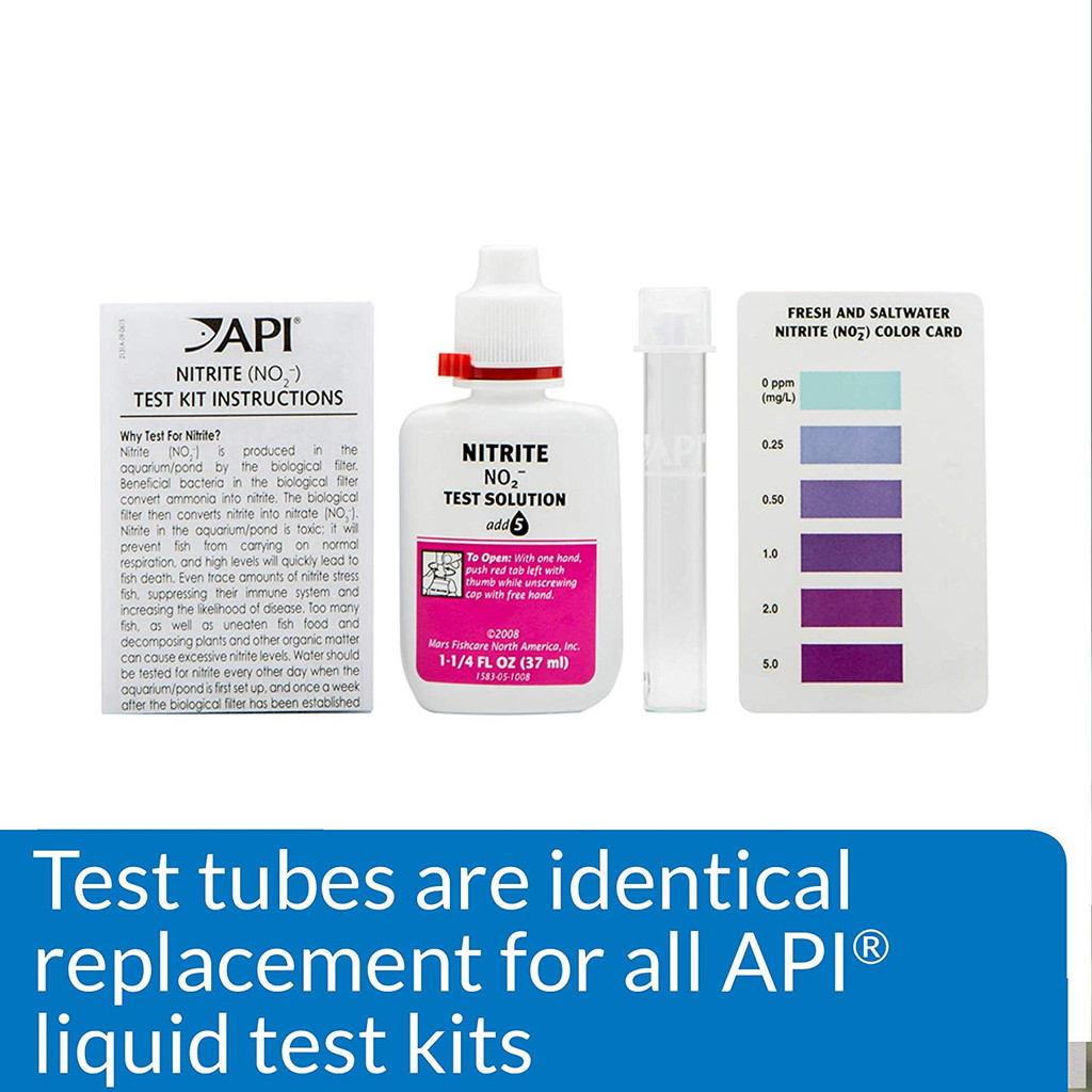 API Glass Test Tubes with Caps for Liquid Test Kits 24 Tubes