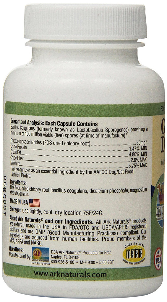 Ark Naturals Gentle Digest 60 Capsules   Supplement for Dogs and Cats