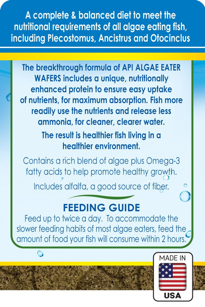 API Algae Eater Premium Sinking Wafer for Algae Eating Fish 3.7 Ounces
