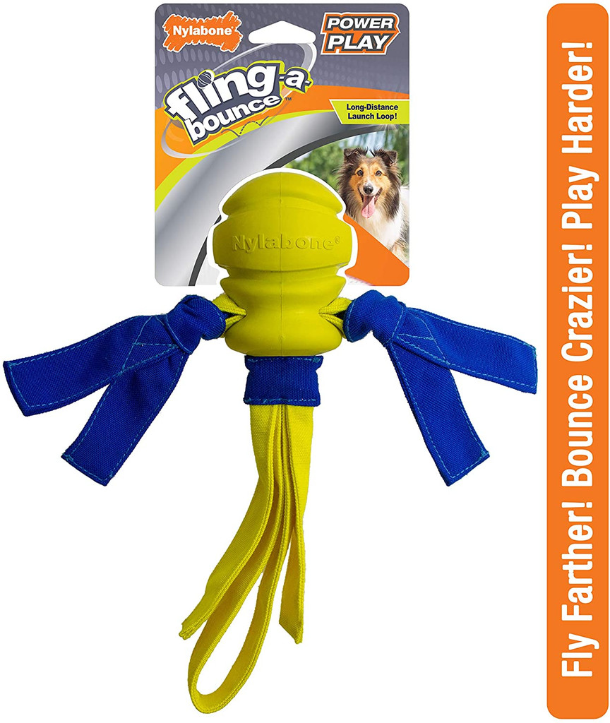 Nylabone Fling-a-Bounce Ultra Strong Power Play Long Distance Launch Dog Toy
