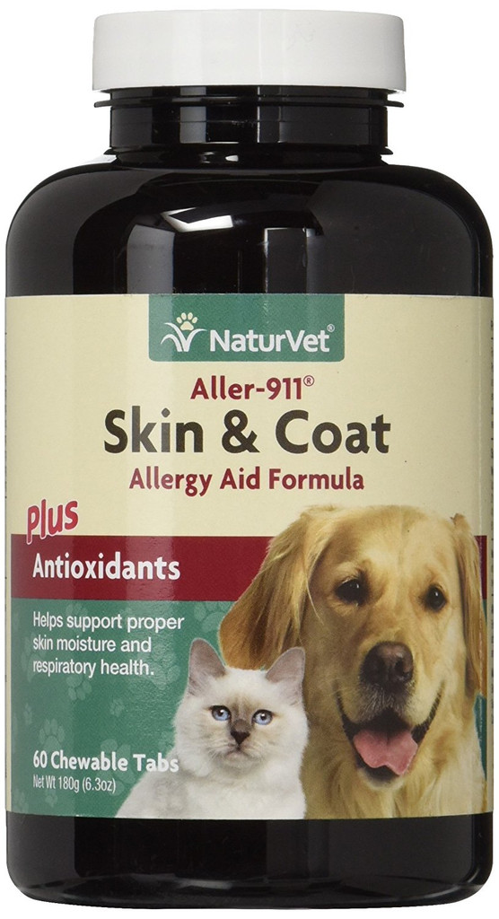 NaturVet ALLER-911 Dog and Cat Skin And Coat Tab Allergy Aid Chewable 60 count