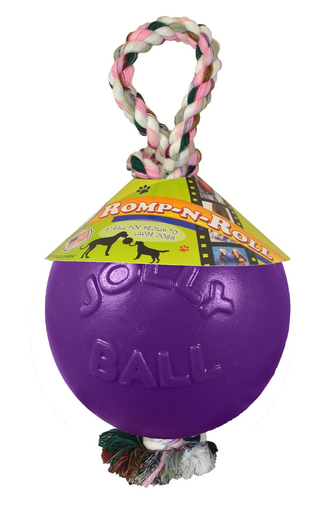 Jolly Pets Romp-n-Roll 4.5 inch Purple | Rubber Ball with Rope for Dogs