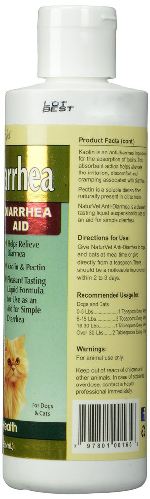 NaturVet Dog and Cat Anti Diarrhea Aid Kaolin Pectin Digestive Health 8 oz