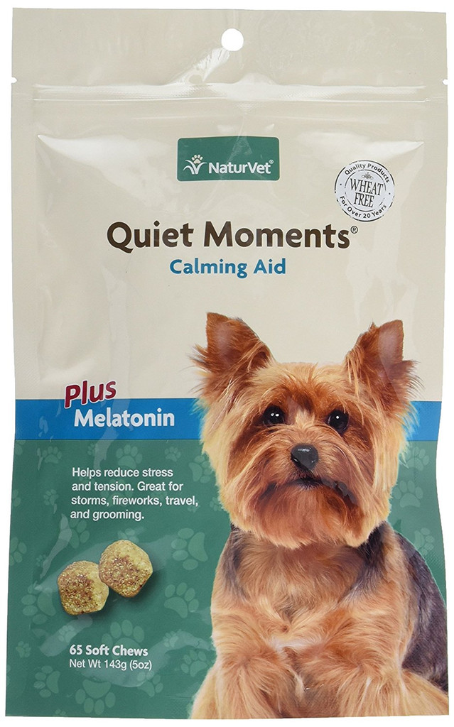 NaturVet QUIET MOMENTS CALMING AID Natural Stress Relief Dog Cat 65 Soft Chews