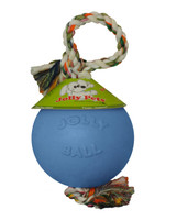 Jolly Pets Romp-n-Roll 4.5 inch Blueberry | Rubber Ball with Rope for Dogs