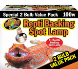 Zoo Med Repti Basking Spot Lamps 100W Unique Patented Double Reflector Beam 2Pk
